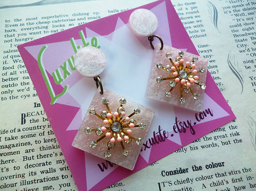 Peach Puff Sparkle Atomic Starburst Statement Dangle Earrings