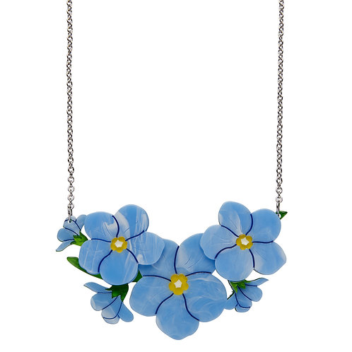 Don't You Forget About Me Necklace by Erstwilder | Blue Forget Me Nots Flo