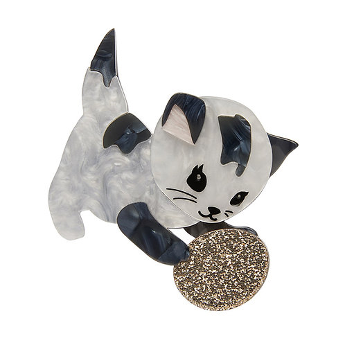 Miso Brooch by Erstwilder | White Black Silver Cat Kitten
