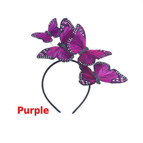 "The ""Mariposa"" - Purple, Indigo, Lilac, Lavender Feather Butterfly Headband"