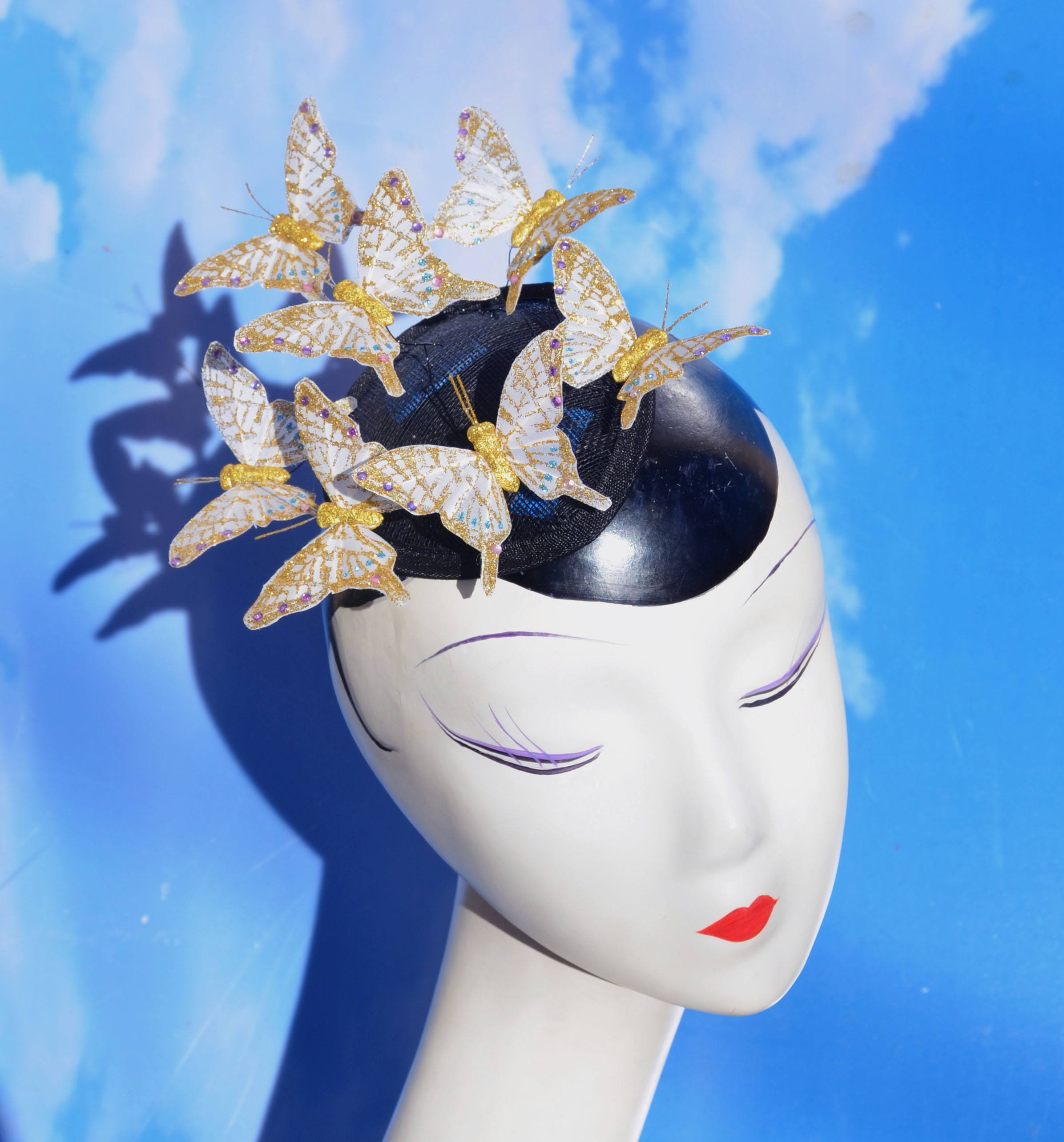 White Gold Butterfly Fascinator