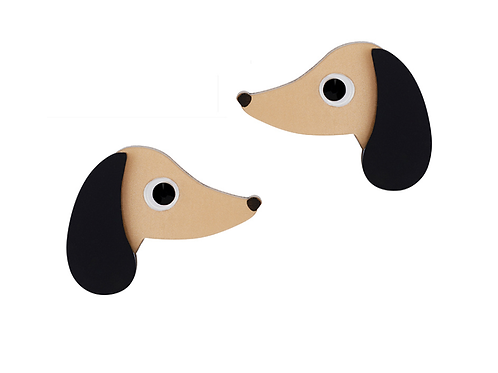 SAUSAGE DOG STUDS by Little Moose | Brown Dachshund