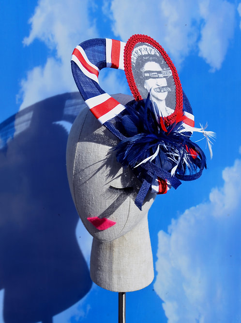 """God Save the Queen"" Sex Pistols Union Jack Blue Red White Racing Hat Punk Rock"