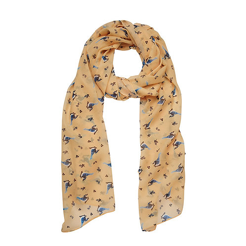 The Blue Jay Way Large Neck Scarf  | Blue Birds on Yellow Backgrou
