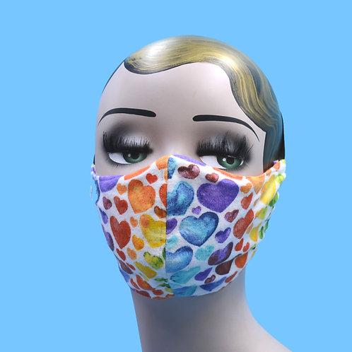 LGBT Pride Rainbow Hearts Face Mask w/ Filter Pocket