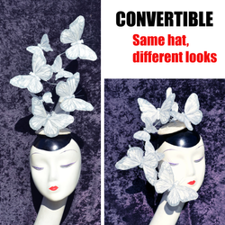 The Effie - Convertible White Silver Glitter Feather Butterfly Fascinator
