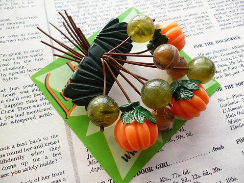 Pumpkin Patch- Vintage Style Cascade Brooch - Handmade by Luxulite