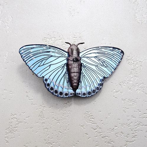 Bluebird Light Blue Moth Brooch by MissJ Designs | Butterfly