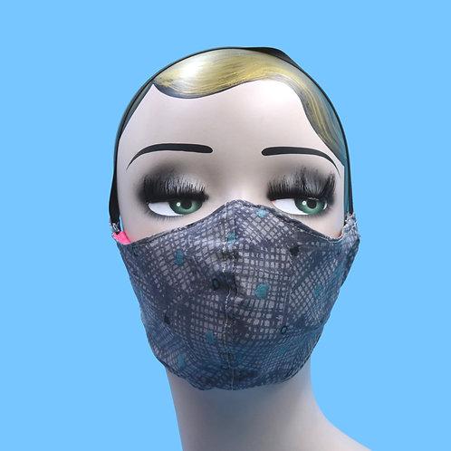 Gray City Map Print Face Mask w/ Filter Pocket