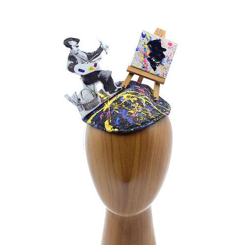 Surrealist Art Painter Hat   OOAK Custom Mixed Colors & Mini Painting