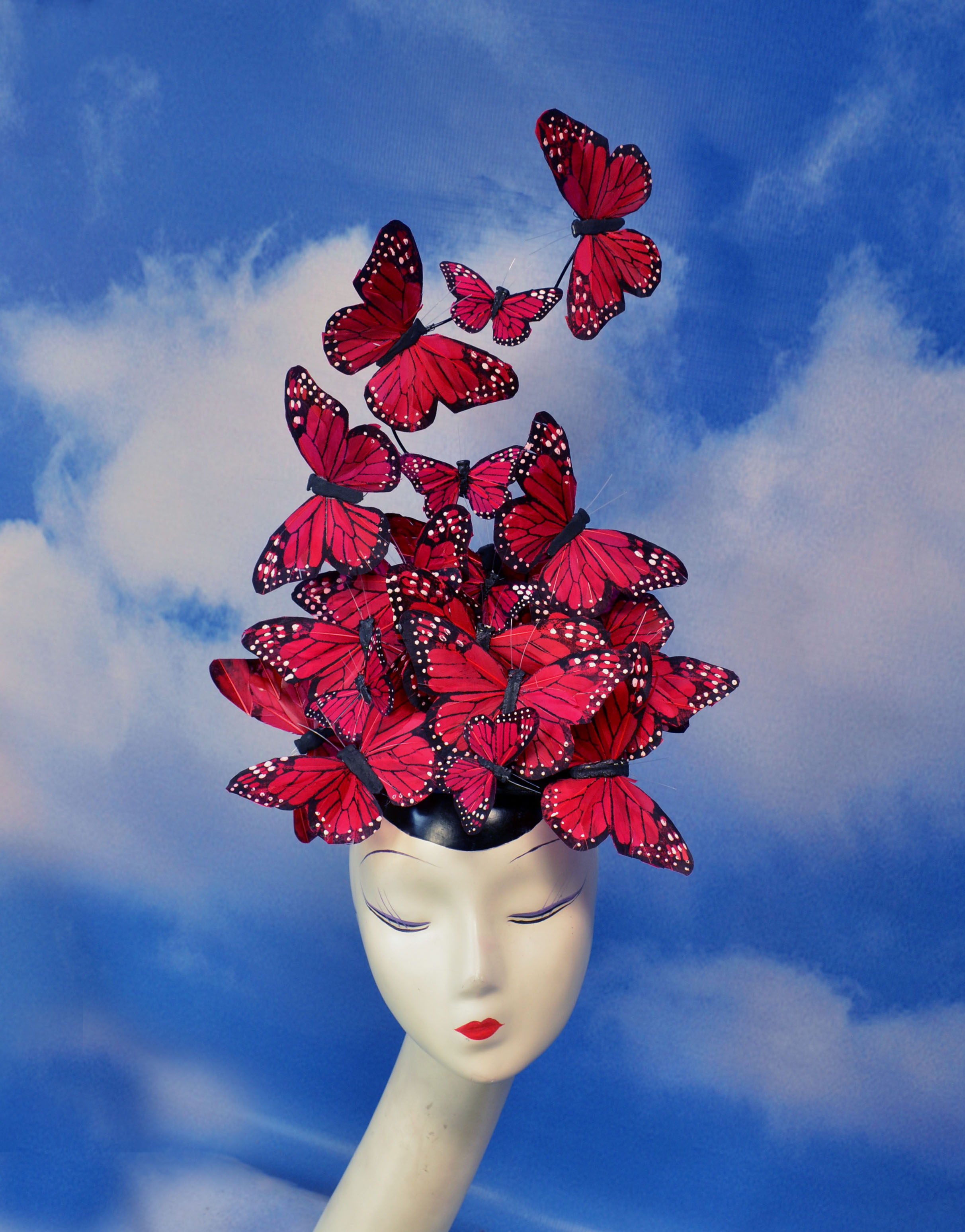 Red Madame Butterfly Feather Headpiece (4)