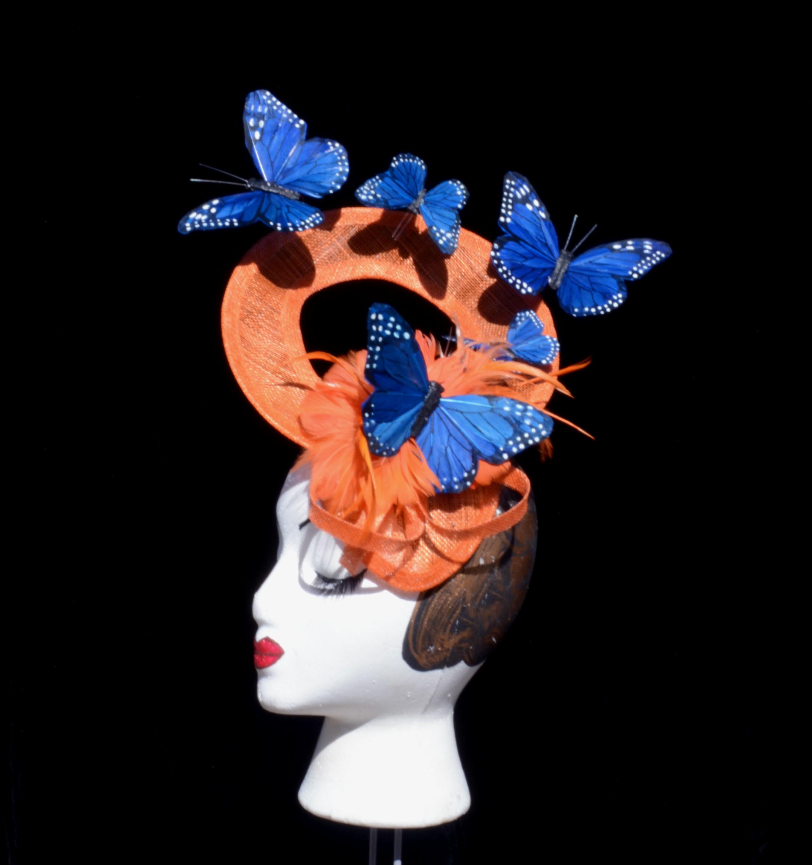 Orange Blue Butterfly Oval Window Hat