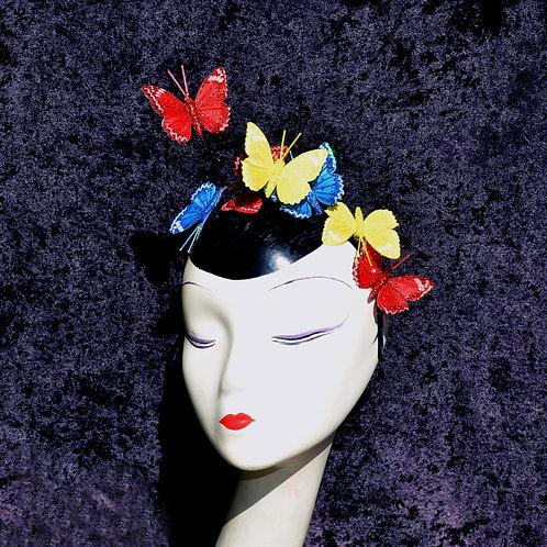 Pop Art Red, Blue, & Yellow Glitter Butterfly Fascinator Headband