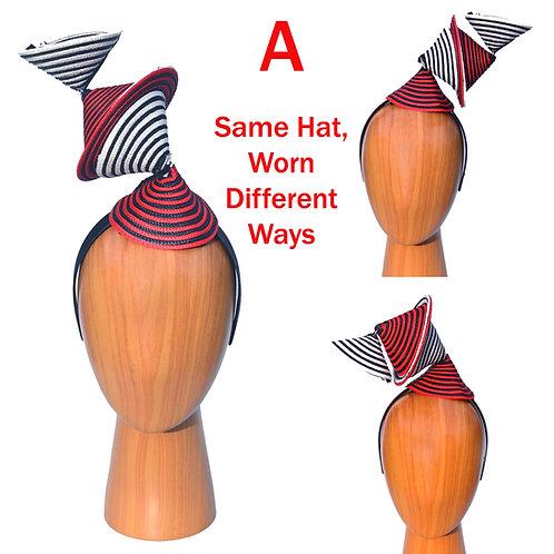 Black, White, & Red Surreal Bauhaus Scuplture Fascinator Hat