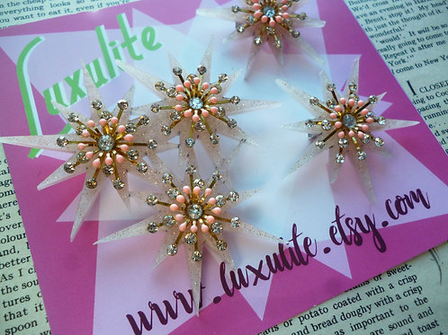 Peach Puff Sparkle Atomic Starburst XL Statement Scatter Brooch Set