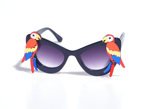 Red Parrot Sunglasses Black or White Oversize Cat Eye Sunglasses