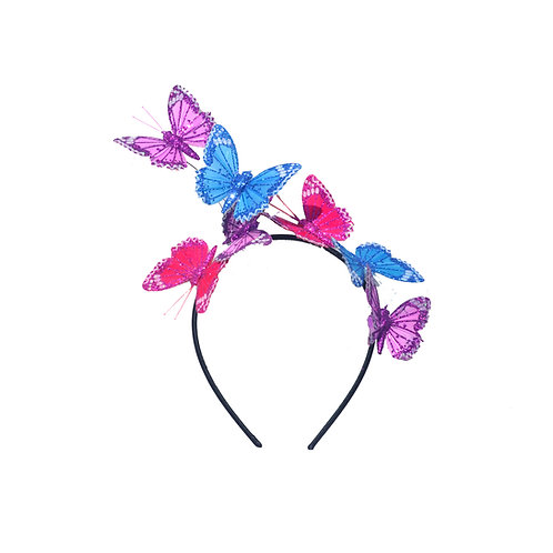 Purple Pink Blue Glitter Butterfly Headband