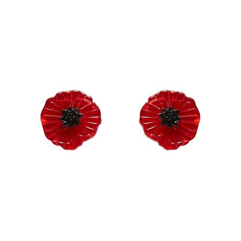 Poppy Field Earrings Red by Erstwilder | Red Flower