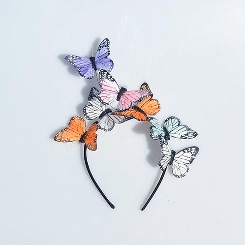Pastel Pink Purple Green Orange Glitter Butterfly Headbands
