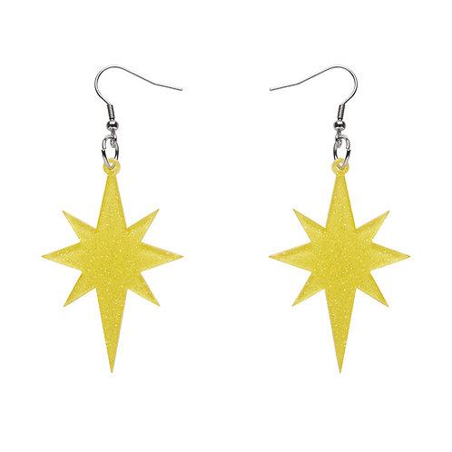 Starburst Glitter Resin Drop Earrings - Yellow