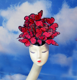 Red Madame Butterfly Feather Headpiece (2)