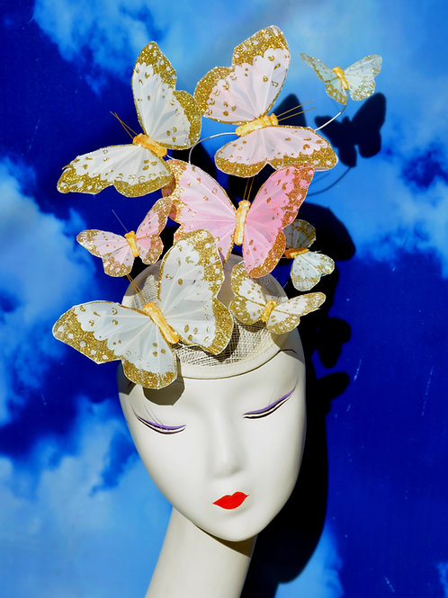 Pastel White & Gold Glitter Butterfly Fascinator
