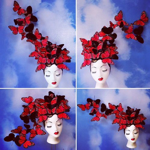 "Red & Black ""Madame Butterfly PLUS"" Fascinator Hat"