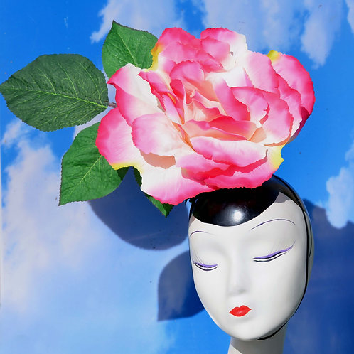Large Pink, White, Red, Blue, or Yellow Peony Rose Headpiece
