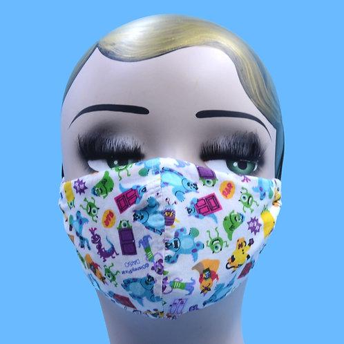 Kids Monster Print Face Mask w/ Filter Pocket
