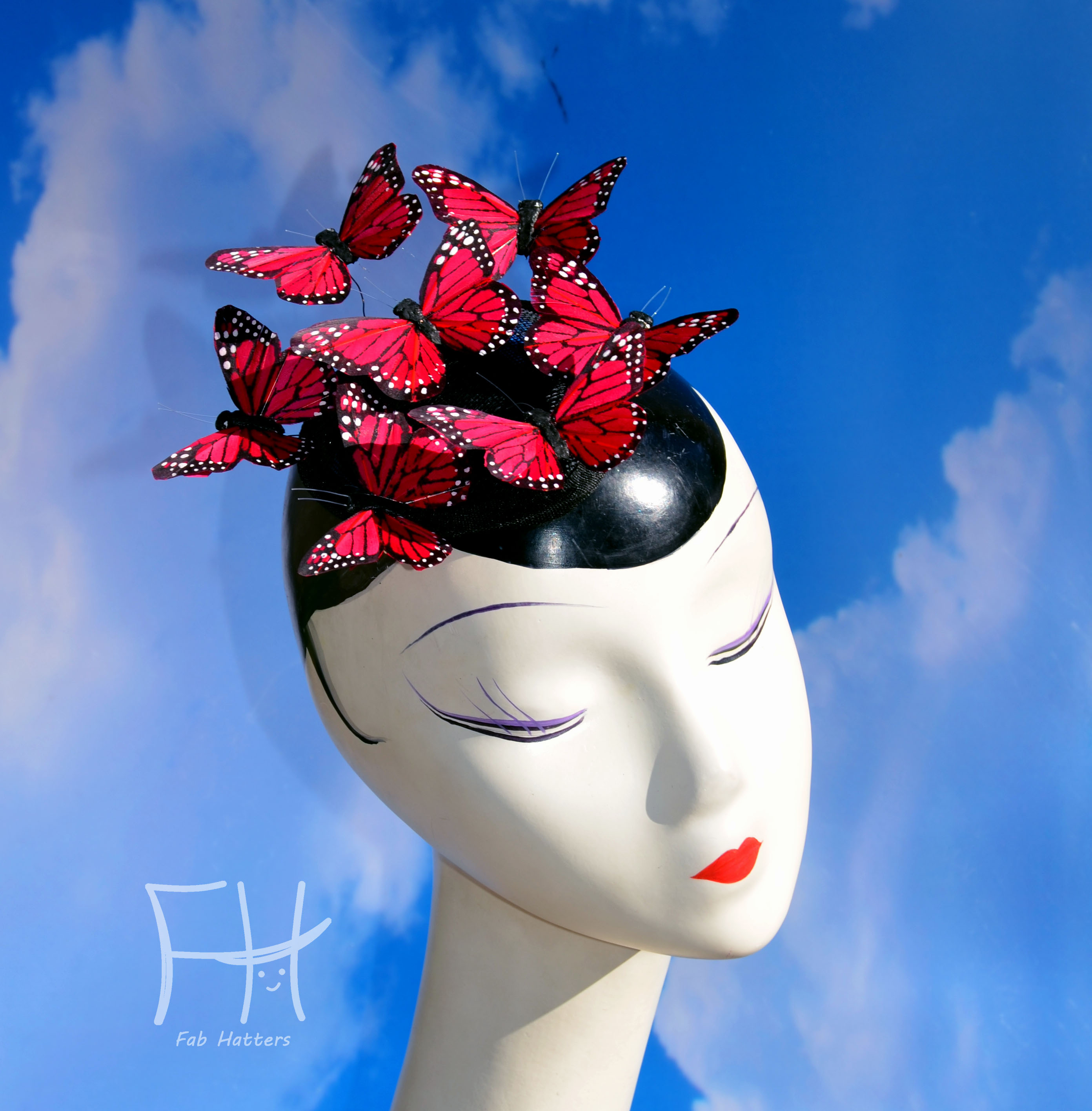 Red Monarch Butterfly Fascinator Hat