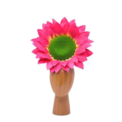 Large Pink & Green Sunflower Fascinator Hat