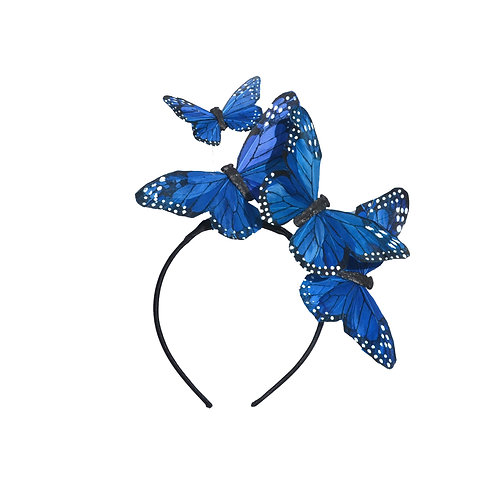 """The """"Mariposa"""" - Blue or Turquoise Glitter Feather Butterfly Headband"""