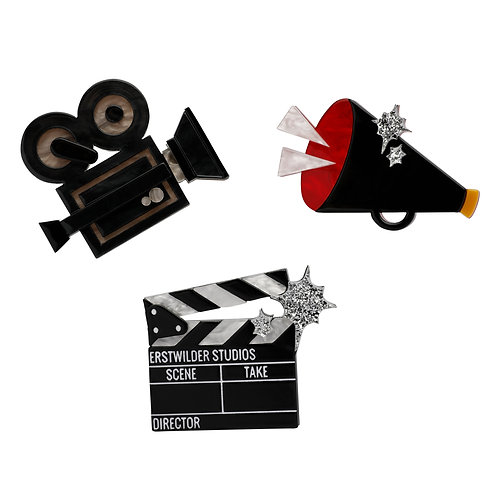 Lights, Camera, Action Brooch Set by Erstwilder | Movie Sign | Film Marquee