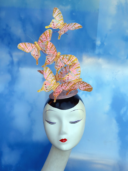 Pale Pink & Gold Glitter Butterfly Fascinator