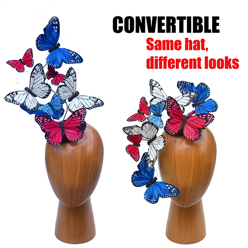 Red, White and Blue Butterfly Fascinator Hat