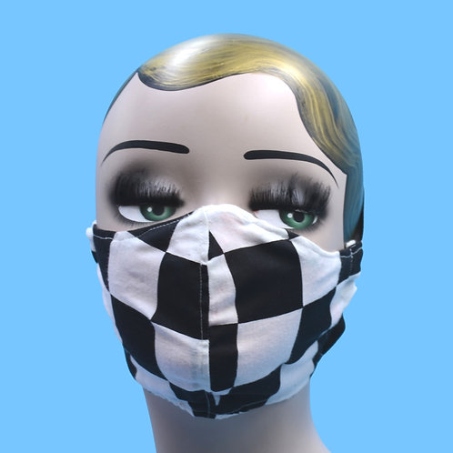 White & Black Checkerboard Face Mask w/ Filter Pocket