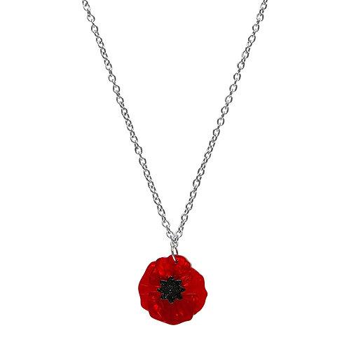 Poppy Field Mini Pendant Necklace by Erstwilder | Red Flower