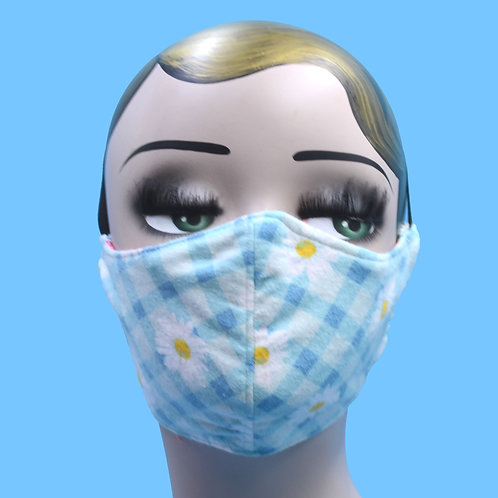 Daisy Flowers on a Blue Gingham Face Mask w/ Filter Pocket