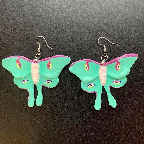 Lunar Moth Earrings by Faerie Dust Crafts | Handpainted Clay Jewel