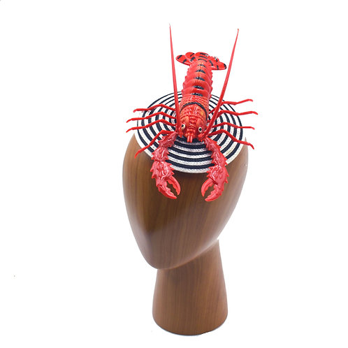 Life-Size Lobster on Black and White Cocktail Fascinator Base