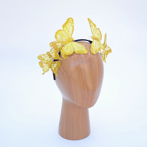Snapchat Butterfly Crown Filter Inspired Gold Butterfly Fascinator Headband