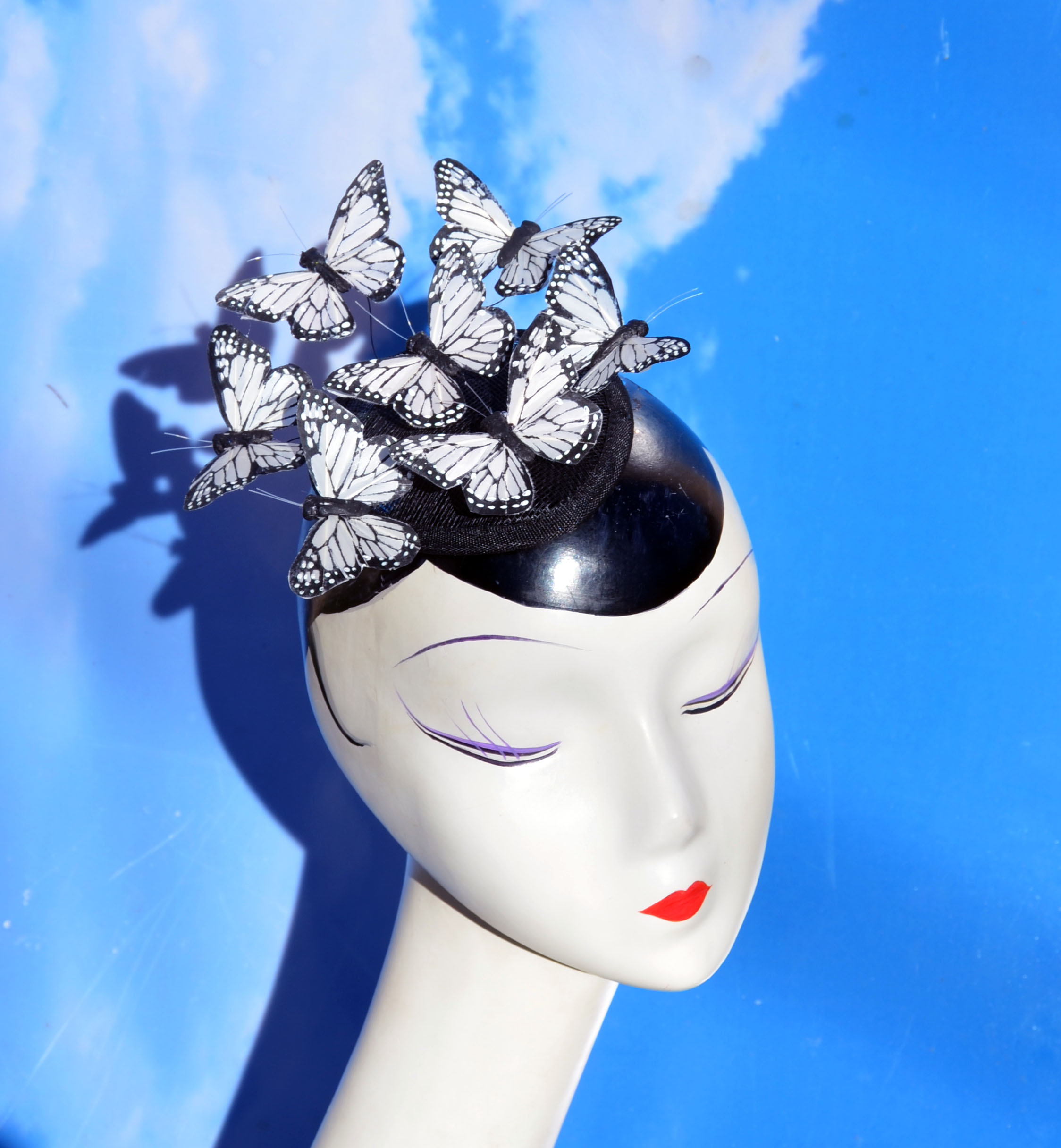 White Black Butterfly Fascinator Hat