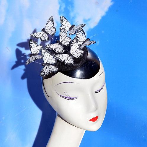 White or Silver Butterfly Teardrop Fascinator Hat