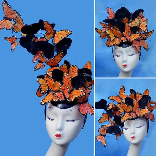 "Orange & Black ""Madame Butterfly PLUS"" Fascinator Hat"