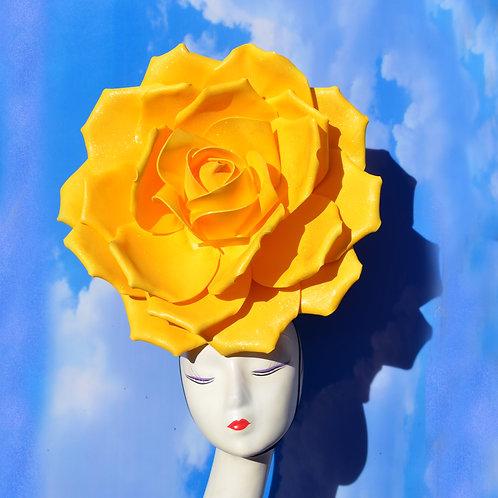 GIANT 50cm Yellow Glitter Rose Queen Headpiece Fascinator