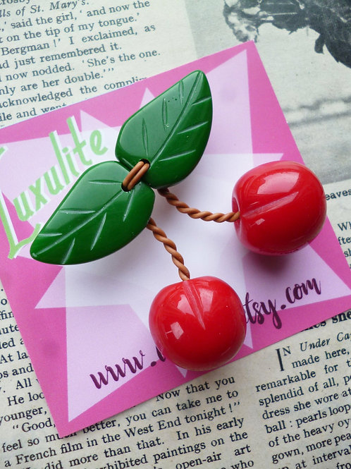 Red Cherry Jubilee Brooch by Luxulite - Tropical Fruit Pinup