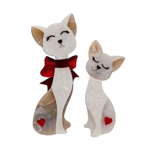 Fur-Ever Friends Brooch Set by Erstwilder   White Cats