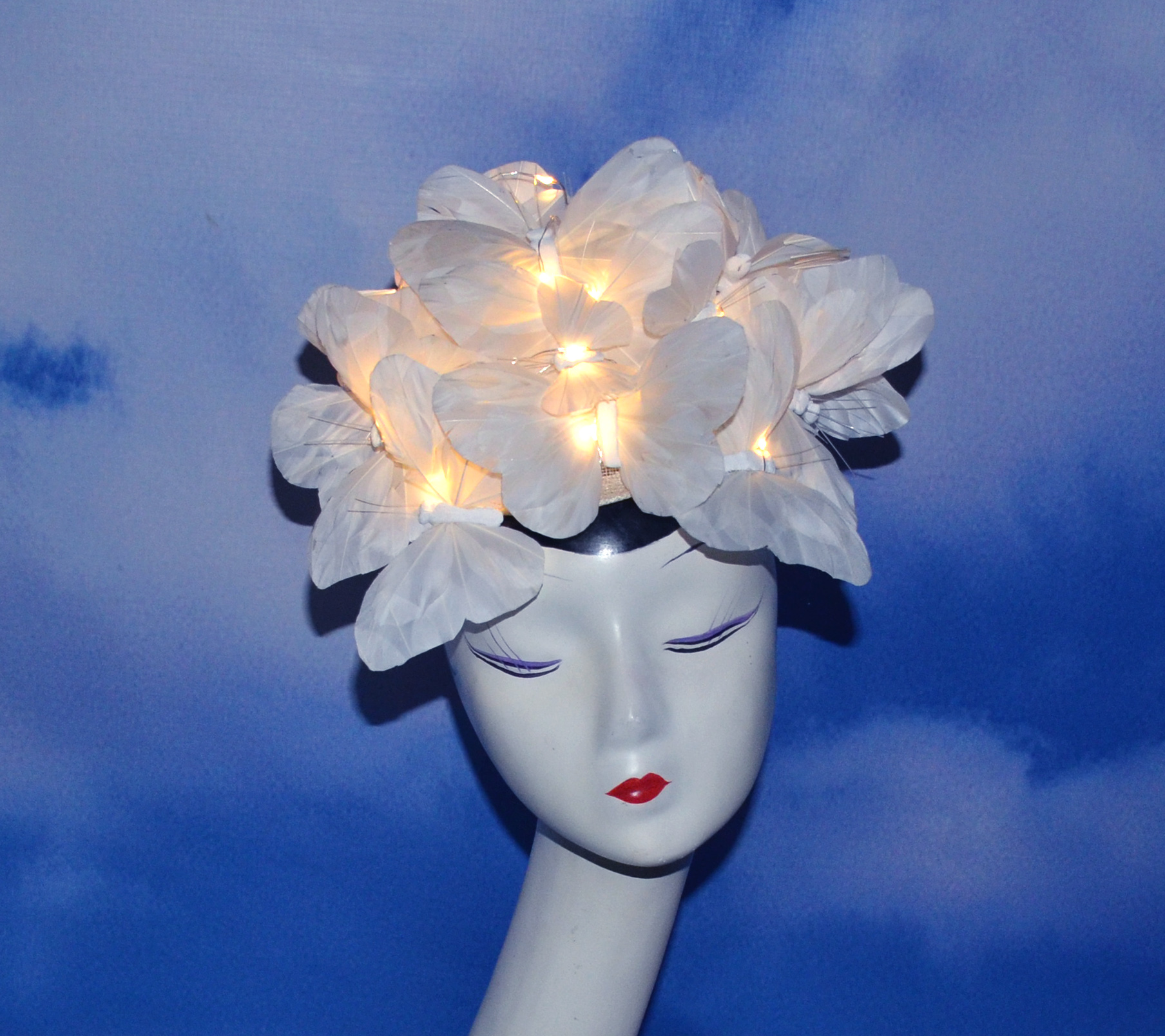 Light Up White Butterfly Hat (1)