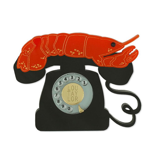 Red Lobster Telephone Brooch by Lou Taylor