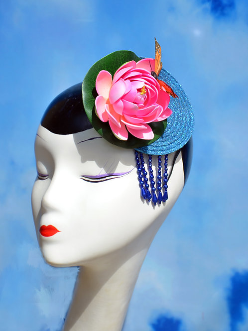 Glitter Lotus (Water Lily) Fascinator Hat with But